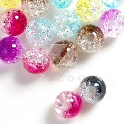 57pcs Acrylic Transparent Faceted Round Beads DIY Jewellery 8x8x8mm Multi-Colour