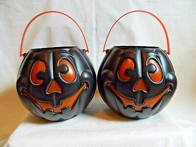 Vintage Halloween Pumpkin Pail Bucket Black (2)