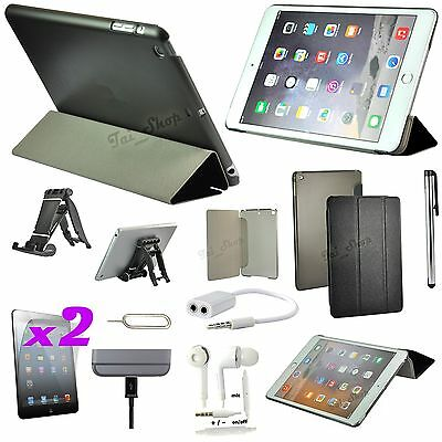 Black Leather Case Cover Stand Earphones Accessory Bundle For iPad Air 2 iPad 6