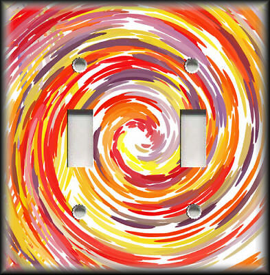 Metal Light Switch Plate Cover Abstract Art Swirl Home Decor Orange Yellow Red