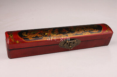 Red Black Dragon Phoenix Leather Box Collectable