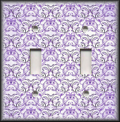 Metal Light Switch Plate Cover - Vintage Art Nouveau Design Decor Purple 02