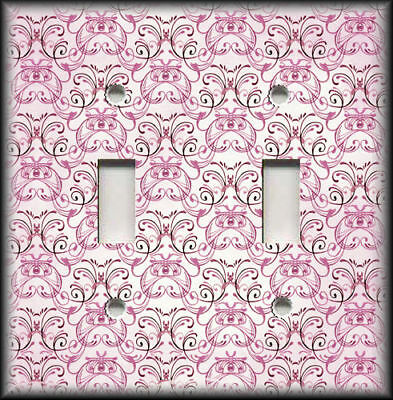 Metal Light Switch Plate Cover - Vintage Art Nouveau Design Decor Pink