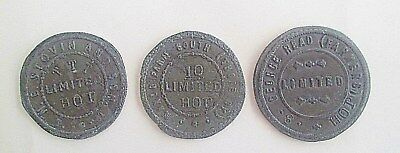 Rare Antique Collection Of Three Metal Hop Pickers Tokens