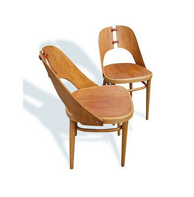 Pair of Unusual Plywood 1950s Side Chairs possibly by Maria Chomentowska