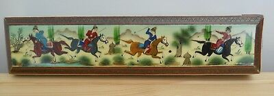 """Vintage Oriental Lacquered Box With Hunting Scene 8"""" X 2"""" X 1.5"""