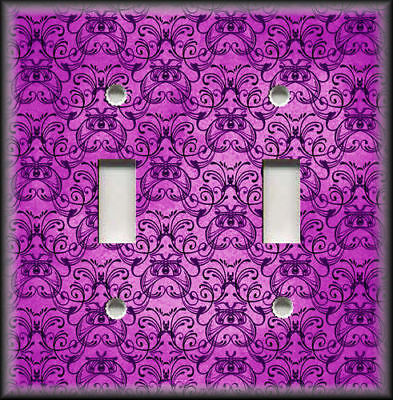 Metal Light Switch Plate Cover - Vintage Art Nouveau Design Decor Pink Purple