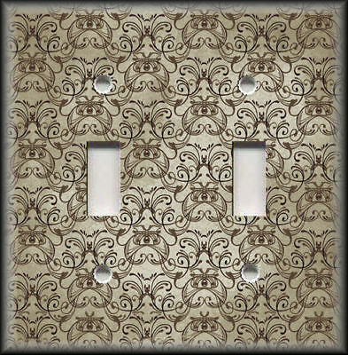 Metal Light Switch Plate Cover - Vintage Art Nouveau Design Decor Beige Brown