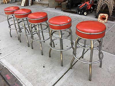 Vintage Art Deco Swivel Stools Diner Ice Cream Parlor Soda Fountain Store