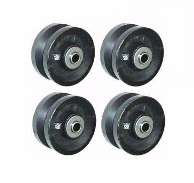 "(Set of 4) RWM 4"" x 1-1/2"" Cast Iron V-Groove Wheel with 1/2"" ID Needle Bearing"
