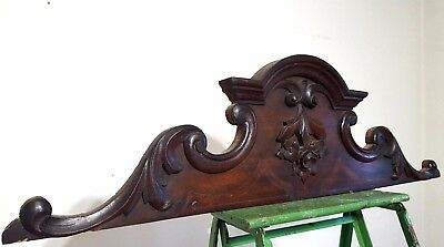 Hand Carved Wood Pediment Antique French Gothic Flower Architectural Salvage