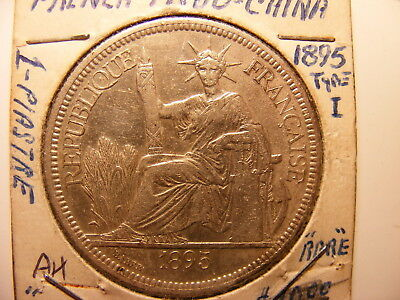 French Indo-China Silver 1 Piastre, 1895-A, VF