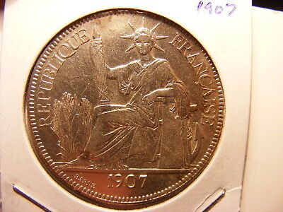 French Indo-China Silver 1 Piastre, 1907-A, VF Cleaned