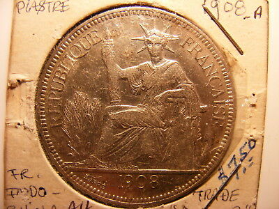 French Indo-China Silver 1 Piastre, 1908-A, VF