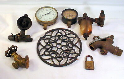 Steam Punk Brass Valves Gauges Cast Iron Decorative Grate Tractor Fuel Cup Glass