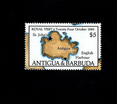Antigua - 1985 - Qe Ii - Royal Visit - English Harbour - Map - Mint Single!