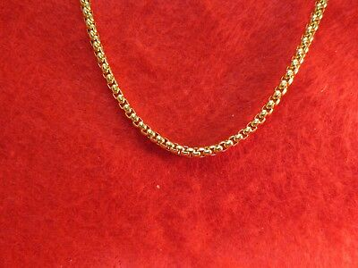 Stainless Steel Gold 4Mm Smooth Box 16 Inches To 60 Inches Chain Necklace-Gold