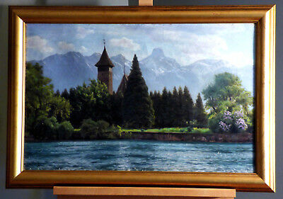 Henrik Gamst Jespersen European River Landscape with Castle Oil on Canvas Listed