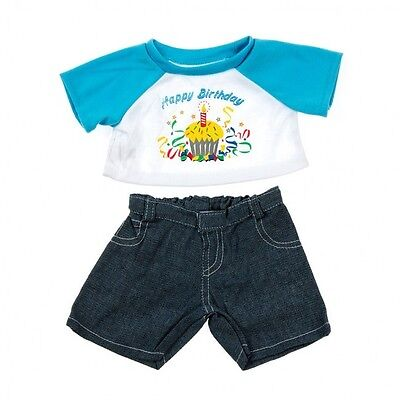 """Happy Birthday t-shirt jeans outfit teddy Bear clothes fits 15"""" Build a Bear"""