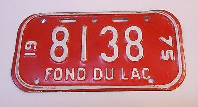 Vintage Wisconsin 1975 Fond du lac Bicycle License Plate