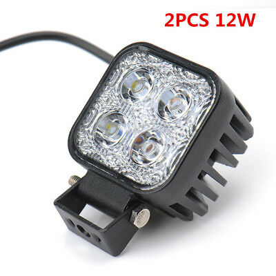 2PCS 12W 80mm CREE LED Work Light Bar Car Lamp Flood Spot Truck SUV Offroad 4WD