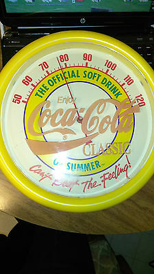 """RARE Coca Cola Soft Drink Summer Cant Beat Feeling thermometer 14"""" 1988-89 USA"""