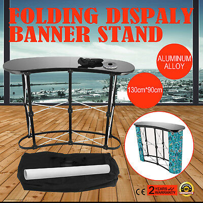 2x2 Display Aluminum Alloy Folding Grid Banner Stand Tabletop Portable Curved