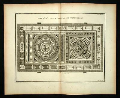 DECORATED PAVE LOCATED IN ENGLAND engraving of MONTFAUCON 1719