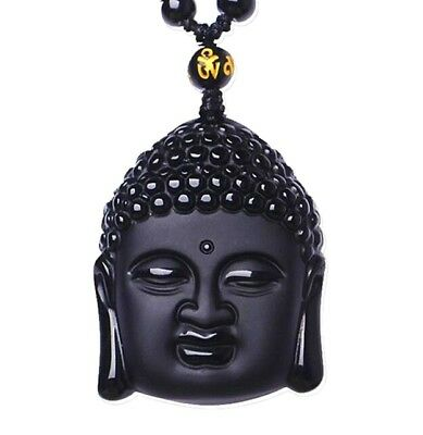 Natural Black Obsidian Hand-Carved Lucky Buddha Amulet Pendant +Beads Necklace