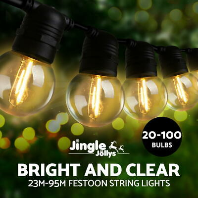 Jingle Jollys 10-100PCS Festoon String Lights Kits Christmas Wedding Party Home