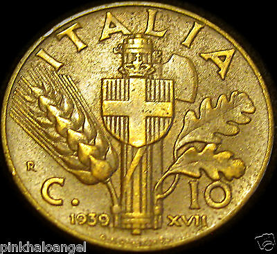 Kingdom of Italy - World War 2 Coin - Italian 1939R 10 Centesimi Coin