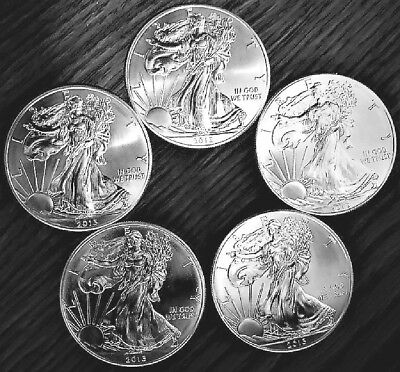 Lot of 5 Silver American Eagle 2013 1 oz .999 BU Coins US $1 Dollar Uncirculated
