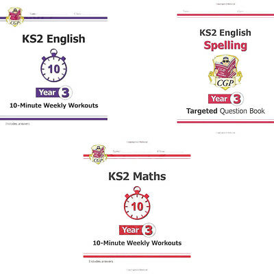 KS2 10-Minute Weekly Workouts English Maths English Spelling Year 3 3 Books Set