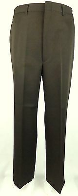 Vtg 1980s Brown Poly Sta Press Haggar Slack Trousers W34 DZ34