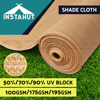 50% 70% 90% UV Sun Shade Cloth Shadecloth Sail Roll Mesh Garden Outdoor Beige