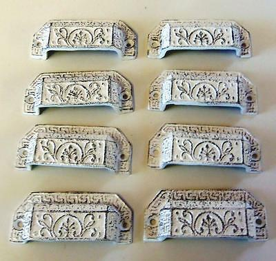 LOT of 16 Drawer Pulls Bin Pull Cottage Chic Cast Iron White Distressed