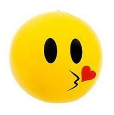 """9"""" Inflatable Kiss Love Face Smiley Emoji Beach Ball - Blow Up Kids Party Toy"""