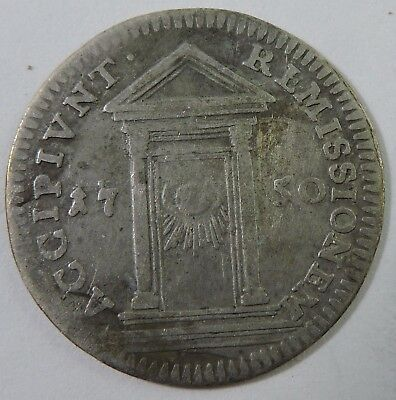 Papal States 1750 1 Grosso Silver Coin