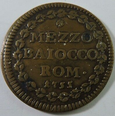 Papal States 1755 1/2 Baiocco Copper Coin