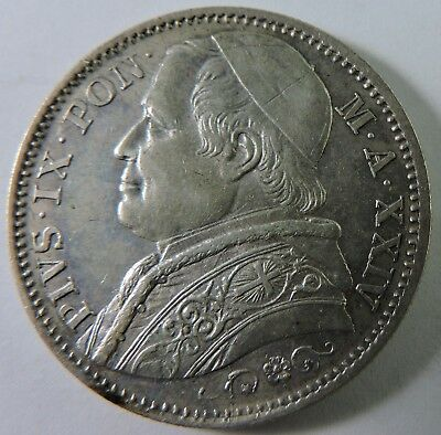 Papal States 1869 2 Lire Silver Coin
