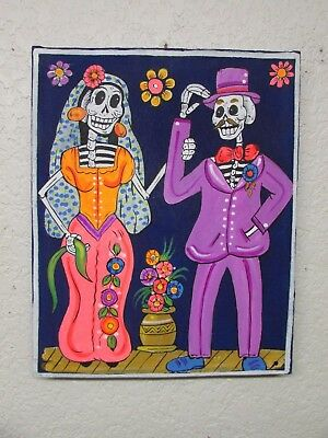 Bride and Groom-Oil Painting on Canvas-Mexican Folk Art-Day of the Dead-NEW