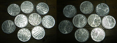 AUSTRIA : 9 X 10 GROSCHEN COINS - 1950's to 80's - All with Lustre