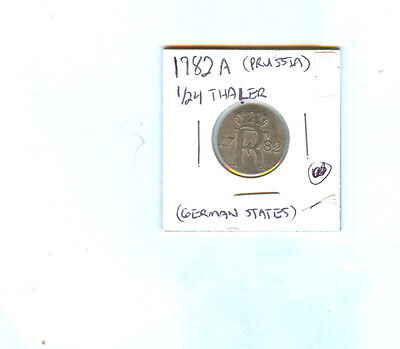 1782A German States 1/24 Thaler Prussia Coin
