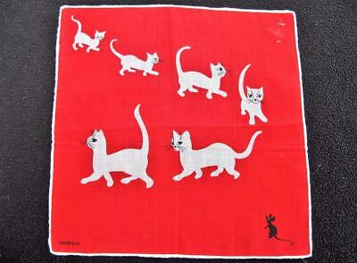 Vintage 1950's Kreier Printed Novelty Handkerchief Hanky  - Cat & Mouse