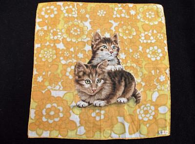 Vintage 1950's Printed Novelty Handkerchief Hanky  - Kittens - Cats