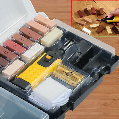 19Pcs Laminate Floor & Worktop Repair Tool Kit Wax System For Chips Scratches UK