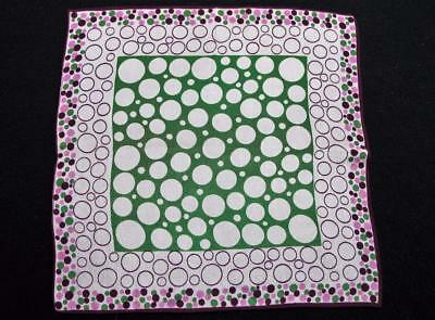 Vintage 1930's Printed Handkerchief Hanky - Purple & Green Polka Dot Design