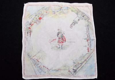 Vintage 1930's Printed Souvenir Handkerchief Hanky - Greetings From Inverness
