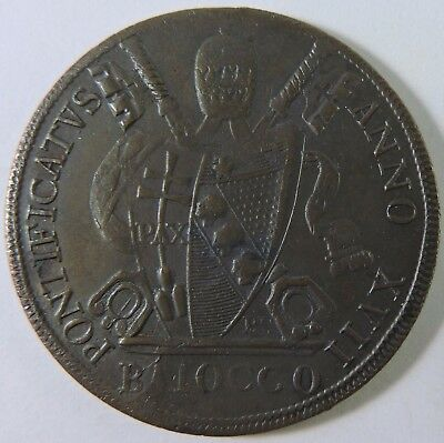 Papal States 1816 R 1 Baiocco Copper Coin