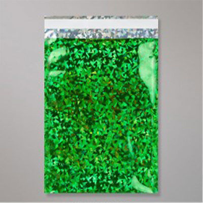 "10 Metallic Green Holographic Foil Mailing Bags 4.5""x6.5"""
